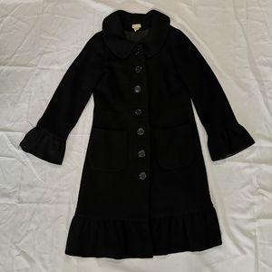 Elevenses | Black Long Wool Blend Ruffle Coat